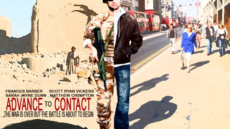 poster for film-man half dressed as soldier, half dressed in civilian clothes