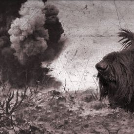 Scottish Terrier dog on battlefield with explosion